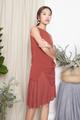 PLEATED ASYMMETRIC TUNIC DRESS